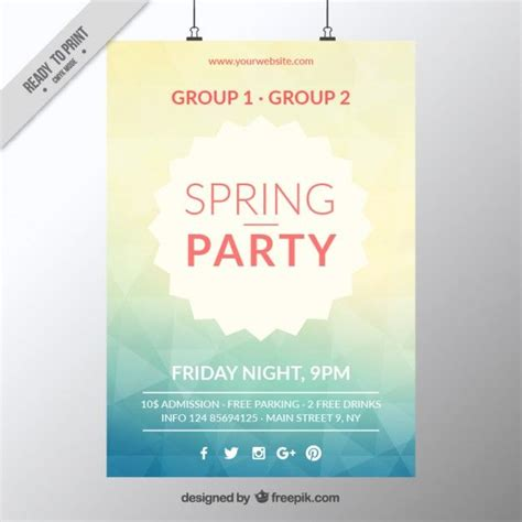 abstract spring party poster template  vector