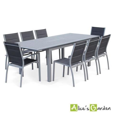 Salon de jardin 8 places table u00e0 rallonge extensible 175/245cm alu gris textilu00e8ne gris - Achat ...