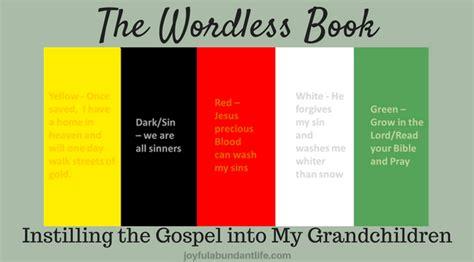 ways    wordless book gospel colors
