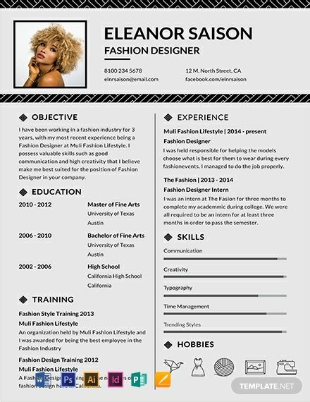 Fashion Resume Templates by Free Assistant Fashion Designer Resume Template Word