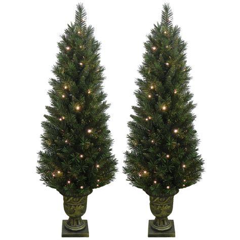 set of 2 light up prelit artificial pine indoor outdoor pathway christmas trees ebay