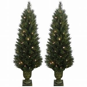 Set, Of, 2, Light, Up, Prelit, Artificial, Pine, Indoor, Outdoor, Pathway, Christmas, Trees