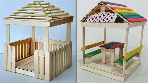 mini relaxing huts popsicle stick crafts compilation