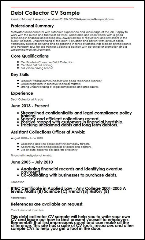 debt collector cv sle myperfectcv