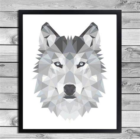 wanddeko digital plakat geometrische wolf illustration