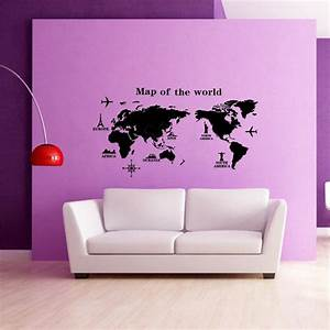 Large world map wall sticker wall decal mural home office wall art large world map removable vinyl art room wall sticker decal mural home decor diy gumiabroncs Choice Image