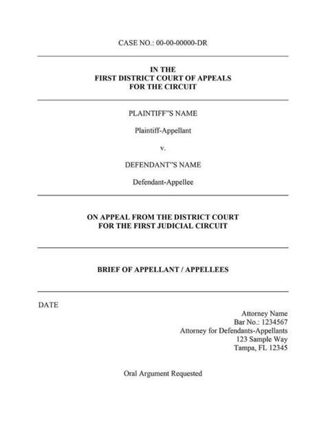 appellate  cover page word template templates