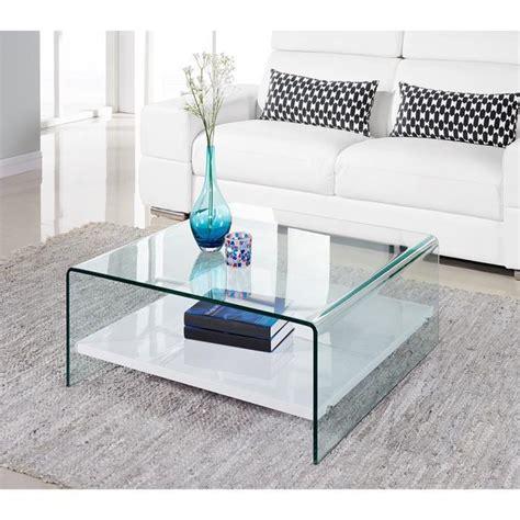 table de cuisine en verre avec rallonge clear table basse 80cm verre transparent et laqué blanc