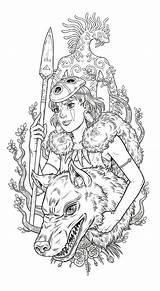 Princess Ghibli Mononoke Lineart Piece Wolf Strychalski Sep Pm sketch template