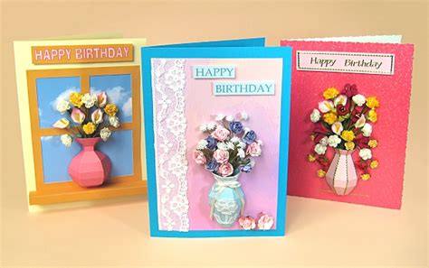 A4 Card Making Templates For 3d Vase Embellishments By
