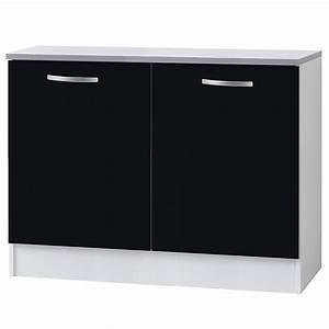 Meuble Bas 2 Portes : meuble bas 2 portes 120cm smarty noir ~ Dallasstarsshop.com Idées de Décoration