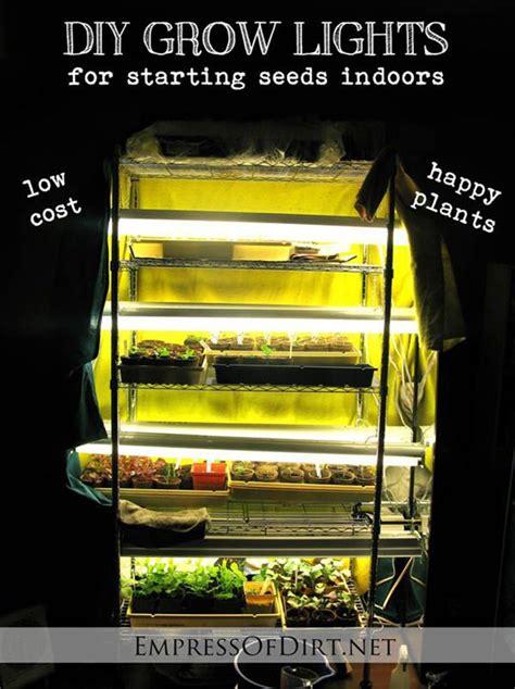 starting seeds lights diy grow lights for starting seeds indoors read here http www livinggreenandfrugally com