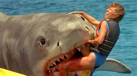 horror man eating great white shark  chews