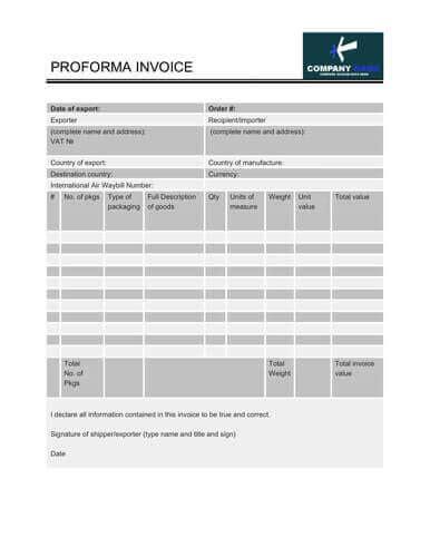proforma invoice templates  examples wordexcel
