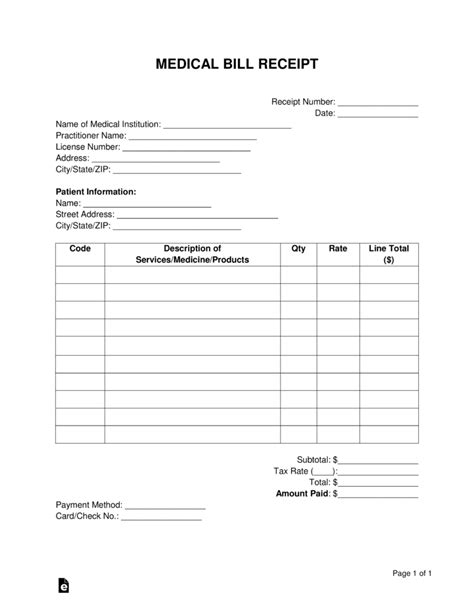 bill receipt template free free bill receipt template pdf word eforms