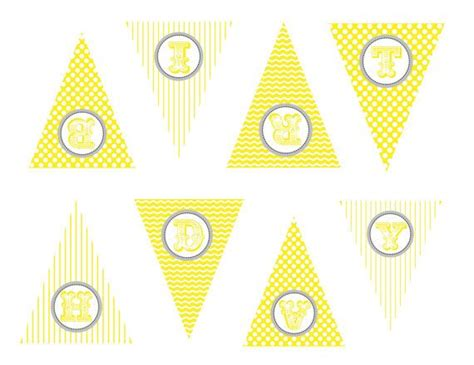Printable Yellow & Gray Chevron Print Birthday By