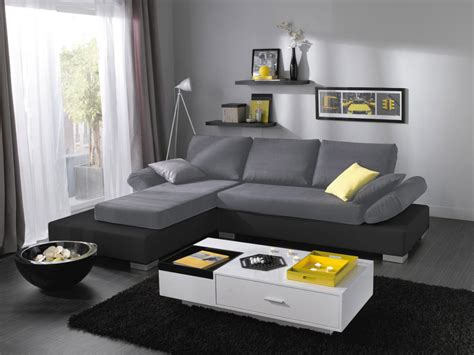 canapé d 39 angle noir et gris