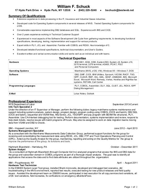 Mainframe Developer Resume Summary bill schuck mainframe programmer 2014 resume
