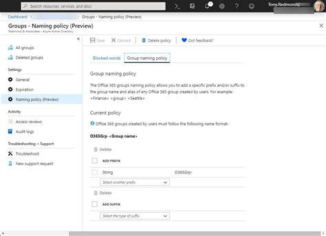 Office 365 Portal Azure by Office 365 Groups Naming Policy Now Configurable In Azure