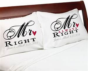 Mr right mr always right gay couple pillowcases personalized for Wedding gifts for gay male couples