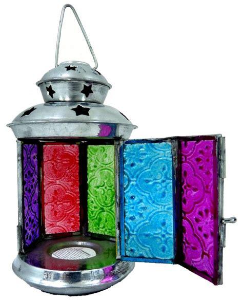 multicoloured mini moroccan tea light holder lantern