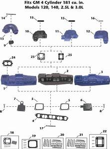 Mercruiser Gm 4 Cylinder  120  140  2 5l  3 0l  Sterndrive Exhaust Manifold Exploded View