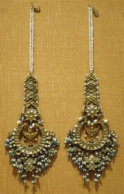 Jewelry Kohl Earrings India Stones Pearls 19th