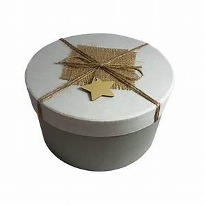 Boite Cadeau Ronde : grande bo te cadeaux ronde grise et blanche coffret ~ Teatrodelosmanantiales.com Idées de Décoration