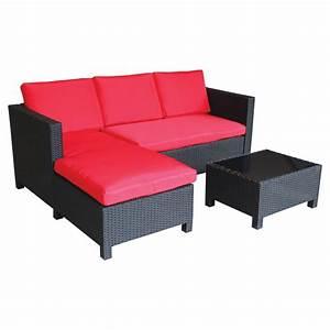 Patio Sectional Sofa Set RedBlack 3 Pieces RONA
