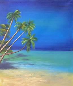 Tableaux Mer Et Plage : tableau peinture plage antillaise palmiers antilles ~ Teatrodelosmanantiales.com Idées de Décoration