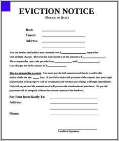 blank eviction notice form  word templates tenant