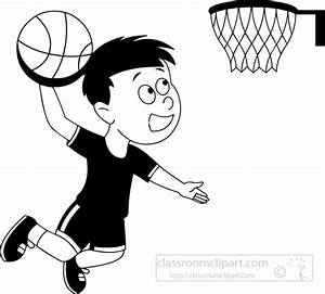Children Playing Basketball Clipart Black And White ...