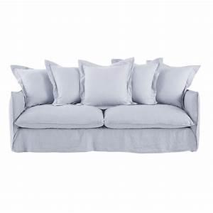 Sofa 4 Sitzer : ausziehbares 3 4 sitzer sofa bezug aus gewaschenem leinen wolkengrau maisons du monde ~ Eleganceandgraceweddings.com Haus und Dekorationen