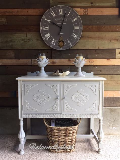 Cabinet in Seagull Gray & Antique White Milk Paint