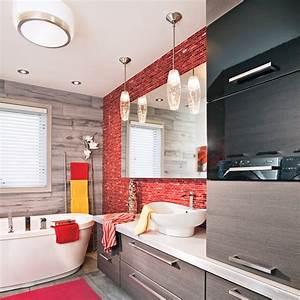 Déco Salle De Bains : salle de bain rouge contemporain salle de bain avant apr s d coration et r novation ~ Melissatoandfro.com Idées de Décoration