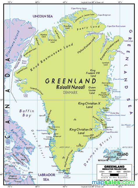 greenland political wall map  graphiogre