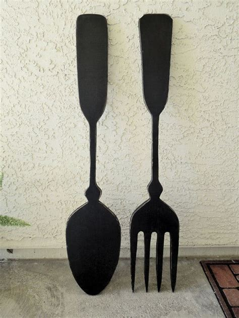 large fork  spoon kitchen wall decor  alternativelighting  home decor