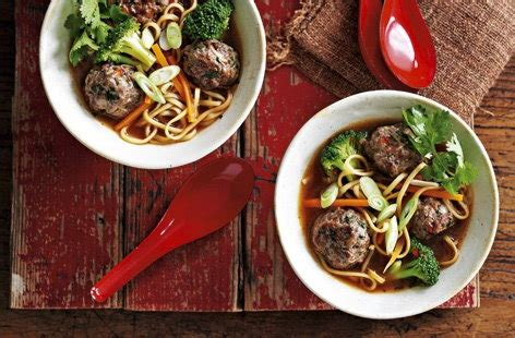 I totally cheat with the dipping sauce. Thai-style meatballs in a noodle and vegetable broth ...
