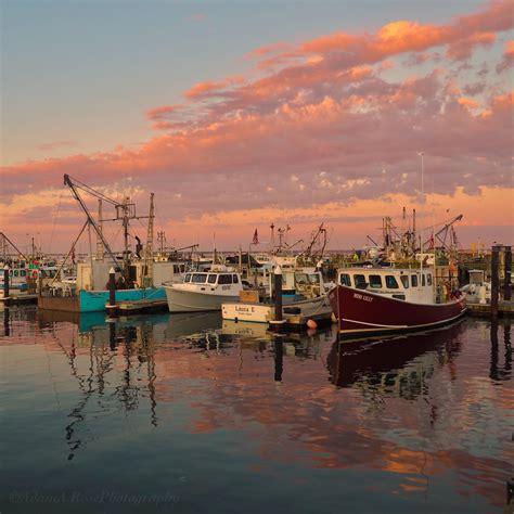 Cape Cod Boats by Fishing Boats And Clouds Provincetown Cape Cod Sunset On
