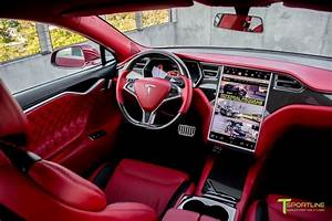 Custom Interior in Bentley Red and Ferrari Black with Gloss Carbon Fiber Trim in 2020 | Tesla ...