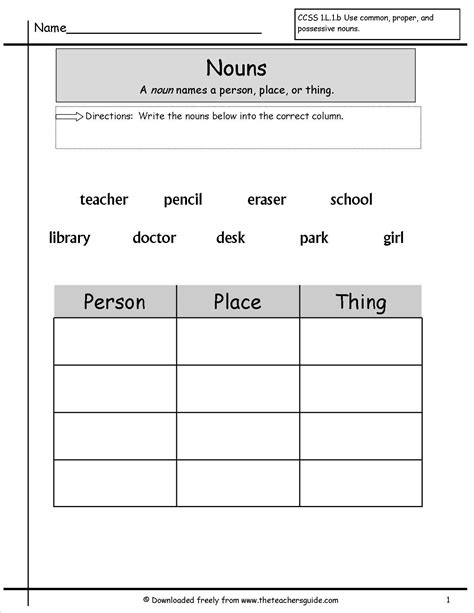 grammer printables nouns worksheets nouns worksheets