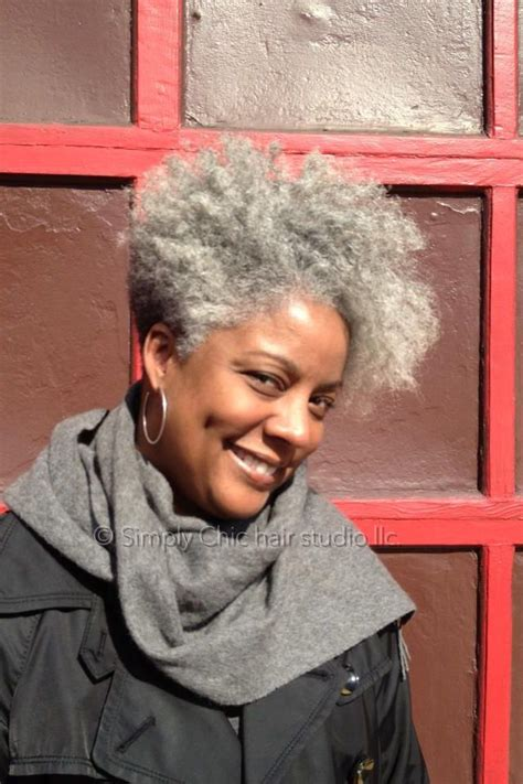 natural lovely grey tapered cut hairstyle  black women