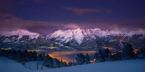 nature landscape mountains snow trees city lights