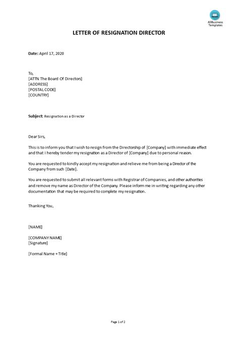 Immediate Resignation Letter Due To Personal Reasons | Templates at allbusinesstemplates.com