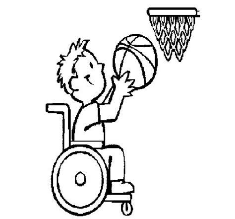 coloriage de basket en fauteuil roulant pour colorier
