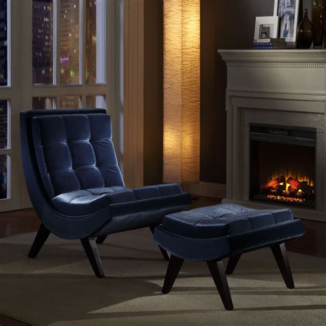 oxford creek contemporary blue velvet chair ottoman