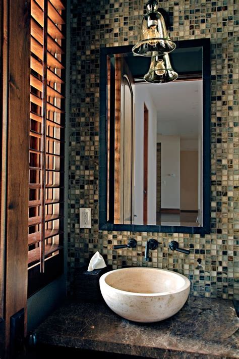 powder room  mosaic tile feature wall   natural