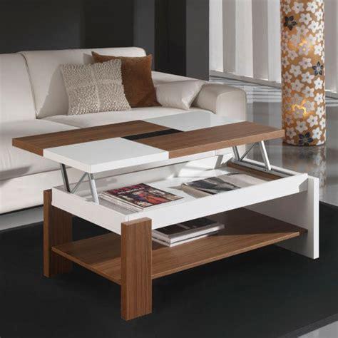 table basse relevable bois table basse relevable plateau bois et blanc mobilier et d 233 co