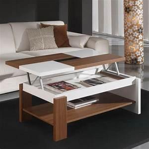 Table Basse Bois Blanc : table basse relevable plateau bois et blanc mobilier et d co ~ Teatrodelosmanantiales.com Idées de Décoration