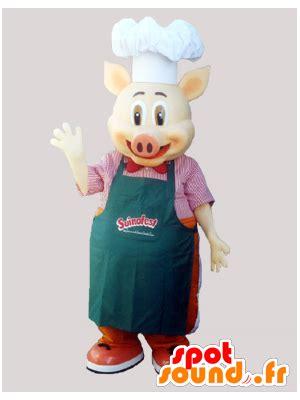 cuisiner avec un chef mascotte de cochon chef cuisiner avec un tablier et une